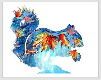 Chipmunk Art Print - Watercolor Painting - Wildlife - Wall Decor