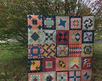 Sewcial Bee Sampler quilt made with Dear Stella fabrics