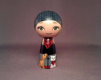 Girl with dog and cat Kokeshi Peg Wooden Doll