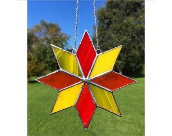 Stained Glass Red, Orange and Yellow Star Suncatcher Decoration