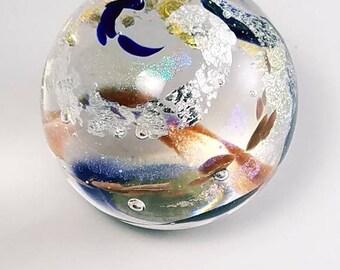 Blue, Purple, Dichroic and Silver  Handblown Glass Paperweight