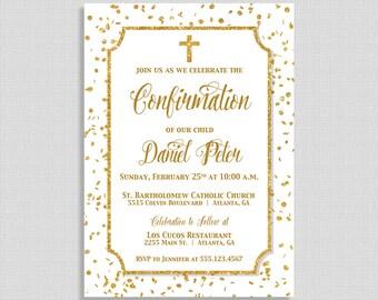 Gold Confirmation Invitation,  White & Gold Glitter Confetti Confirmation Invite, Christian Invite, Neutral Christening, DIY PRINTABLE