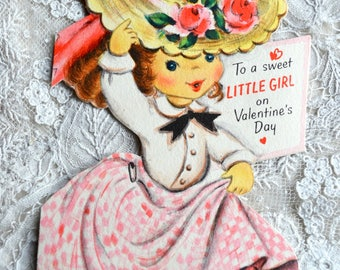Vintage Valentines Day Card - Little Girl Wearing Pink Roses Hat - Used Hallmark