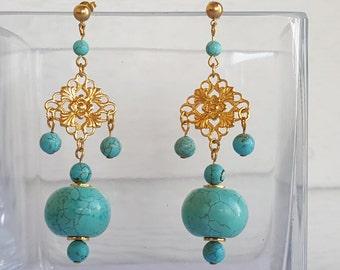 Blue Magnesite Gold Plated Earrings