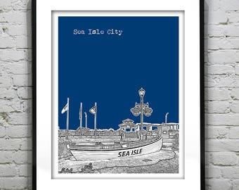 20% OFF Memorial Day Sale - Sea Isle City New Jersey Shore Poster Print Art NJ Skyline Jersey Shore Version 4