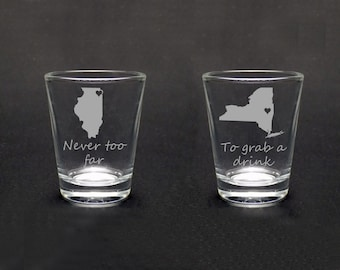 Set of Two Best Friends Shot Glasses - Best Friends Gift - Long Distance Friends Gift - Long Distance Love Gift -