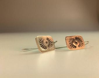 Navajo Stamped Sterling Silver Earrings