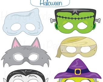 Halloween Masks, halloween costume, halloween printable, monster masks, witch mask, ghost mask, werewolf, vampire, mummy, frankenstein mask