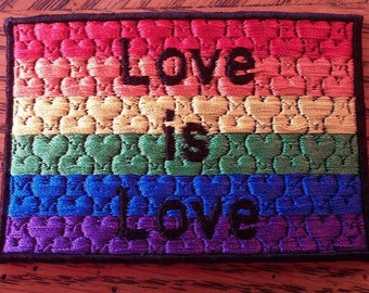 "Gay Pride Flag ""Love is Love"" Patch 2.25in x 3.875in USA Made"