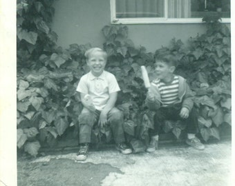 1967 Kenny and Lance Boys Eating Popsicles Ice Cream Sitting Outside 60s Vintage Photograph Black White Photo
