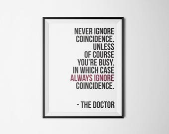 Doctor Who   Never Ignore Coincidence   Type Poster   5x7 8x10 11x14 16x20