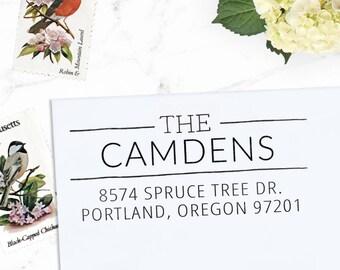 Return Address Stamp, Custom Address Stamp, Wedding address stamp, Calligraphy Stamp, Perzonalized Self inking Stamp - Camden