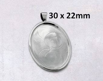 1 x Solid Stainless Steel 30mm x 22mm Oval Cabochon Frame Bezel Setting