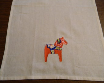 TWO Embroidered Ivory Cotton Dish Towels Swedish Dala Horse #82