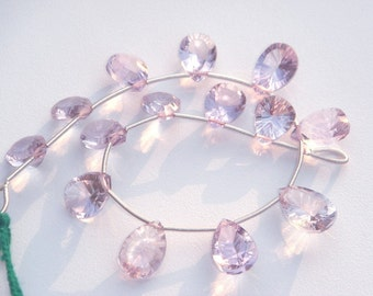 AMETHYST (PINK) FACETED PEAR CONCAVE CUT BRIOLETTES ( 8.5x11 to 9x13 mm ) 18 cm