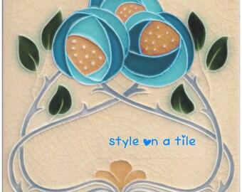 Art Nouveau Rennie Mackintosh Blue Turquoise Rose Flower design square placemat table mat server