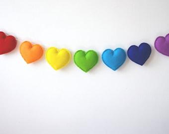 Rainbow Hearts, Heart Garland, Rainbow Garland, Rainbow Bunting, Rainbow Banner, Rainbow Nursery, Rainbow Baby gift, Product ID: LRZ2358