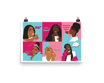 Blue and Pink Girls Poster