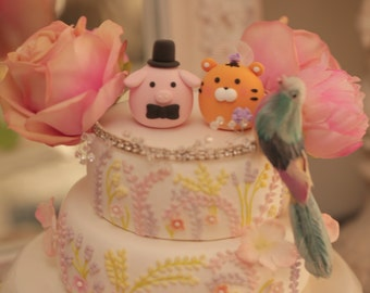 tiger  and pig   wedding cake topper