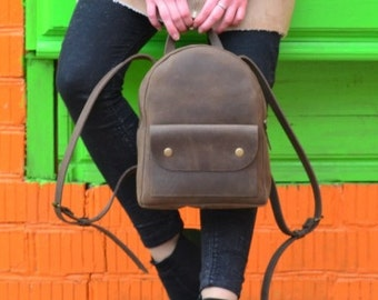 Brown leather backpack,Woman Leather backpack,leather rucksack,backpack vintage,leather backpack purse,brown knapsack,leather backpack purse