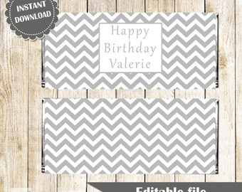 Grey Chevron Candy Bar Label - Baby Shower Birthday Party Bridal Shower Wrapper Editable File Printable INSTANT DOWNLOAD