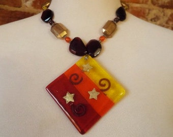 OOAK Bold Fused Art Dichroic Glass Statement Necklace w/ Vintage Beads