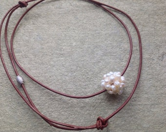Floating Pearl Necklace, Freshwater Pearls, Cluster Pearl Ball on Leather Necklace, Minimalist Jewelry
