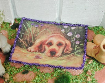 Dollhouse Miniatures, Miniature doormat dog, doormat in 1:12 for the doll house, doll parlor, collector