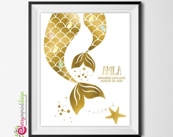Gold Foil Mermaid Gues Book Fingerprint Baby Shower Guest Book - DIY Printable