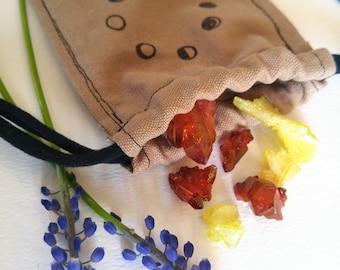 Hemp drawstring pouch, hemp bag, handmade fabric pouch, crystal pouch, witchy gift, aura quartz, crystals mystery bag, aura crystal lot