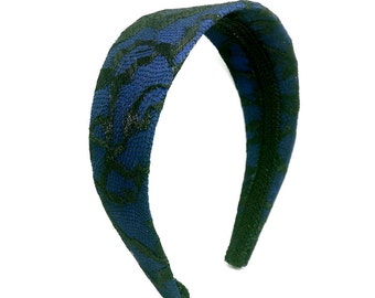 Black Lace and Navy Blue Extra Wide Headband - Lace Headband -  - Adult Women's Headband, Big Girl Headband, Navy and Black Covered Headband