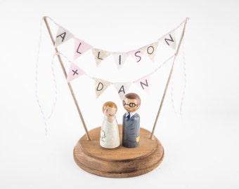 Custom Wedding Cake Topper - Name cake topper - Hand painted name cake topper