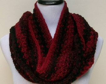 Wool Blend Cranberry and Black Scarf, Fashion Scarf, Crochet Scarf, Striped Scarf, Scarf for Men, Scarf for Women, Cold Weather Scarf
