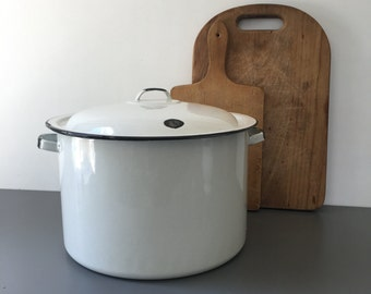 vintage large white enamelware stockpot with lid rustic farmhouse