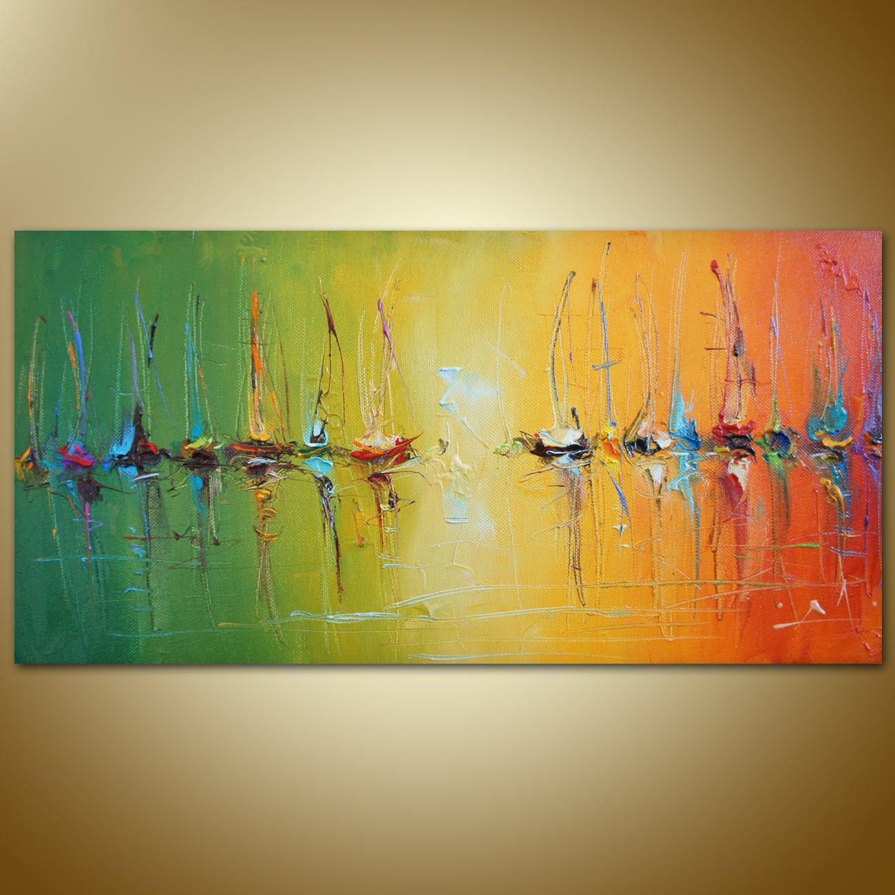 Abstract Painting Sailboats Painting Original Artwork