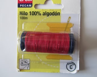 Spool of thread - 100% cotton - 100 meters - Red