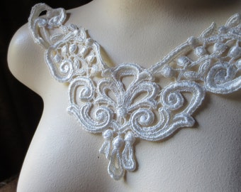 SALE Ivory Lace Applique for Bridal, Jewelry Supply, Costume Design  IA 2