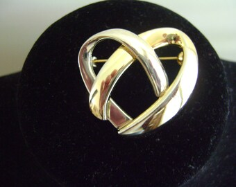 Vintage Gold tone and Silver tone Heart Brooch
