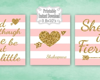 Printable Pink Gold Tribal Hearts Baby Nursery Wall Art Decor Though She Be But Little Girl Kids ~ DIY Instant Download ~ 3 8x10 Prints