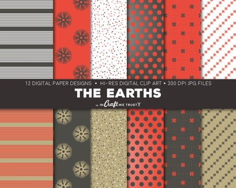 """The Earths Digital Papers • 12 Hi-Res Print Designs • 12"""" x 12"""" Backgrounds• Commercial & Personal Use • Instant Art Downloads"""