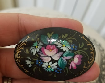 Unique and Beautiful Hand Painted Vintage black lacquer Russian wooden Brooch unsigned
