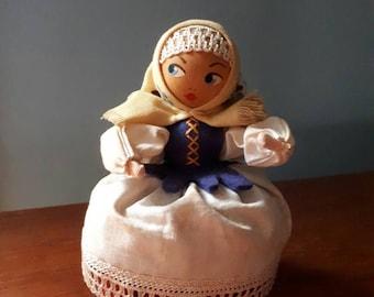 Vintage Polish Doll Traditional Dress Wooden Head