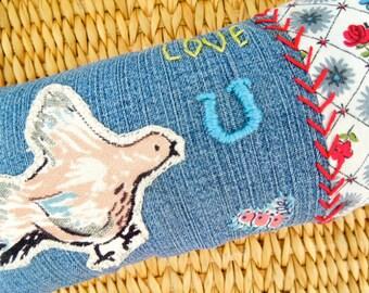 Love U Chicken Vintage Pillow - Hand Embroidered & Appliquéd