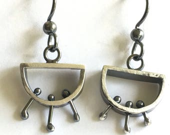 Earrings Oxidized Silver Semi Circle with Wiggly Dangles