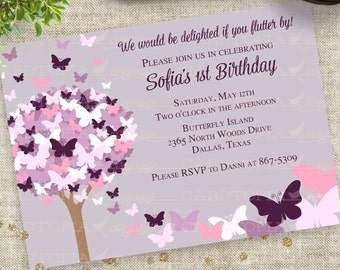 Pink and Purple Butterfly Baby Shower Invitation Personalized Custom Printable Digital File with Professional Printing Option