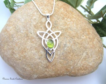Celtic woman necklace, gemstone peridot, sterling silver, french handmade
