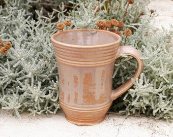 16 oz Mug, Toffee / Mottled  Drip Mug, Base of tan, Pearly Tan Overlay, Natural Patina High Fire Stoneware, Hand Painted, Ready To Ship