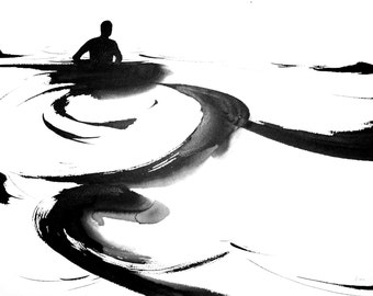 """Figure Fine Art Ink Drawing, """"Immersion No. 19"""""""