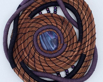 Purple Pine Needle Basket with Glass and Beads- Item 834 by Susan Ashley