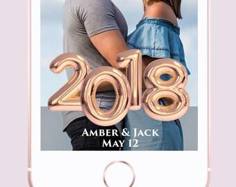 Rose Gold Date Balloon Custom Wedding Snapchat Geofilter